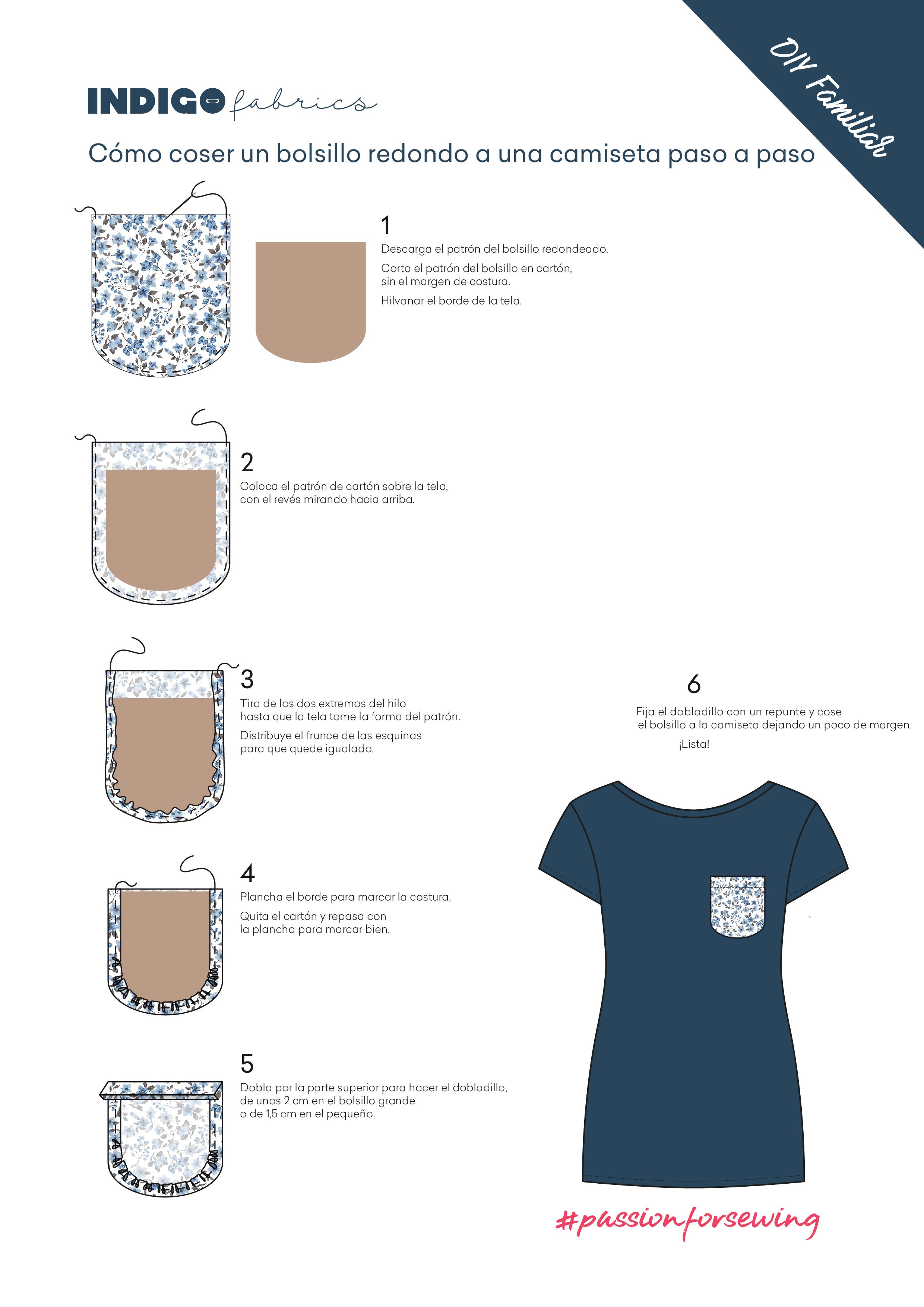 Cómo coser un bolsillo redondo a una camiseta paso a paso